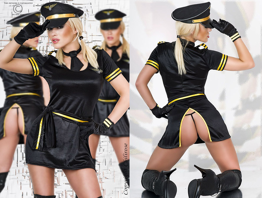 Chilirose 3161 Captain Chili Pilot Costume (S/M)