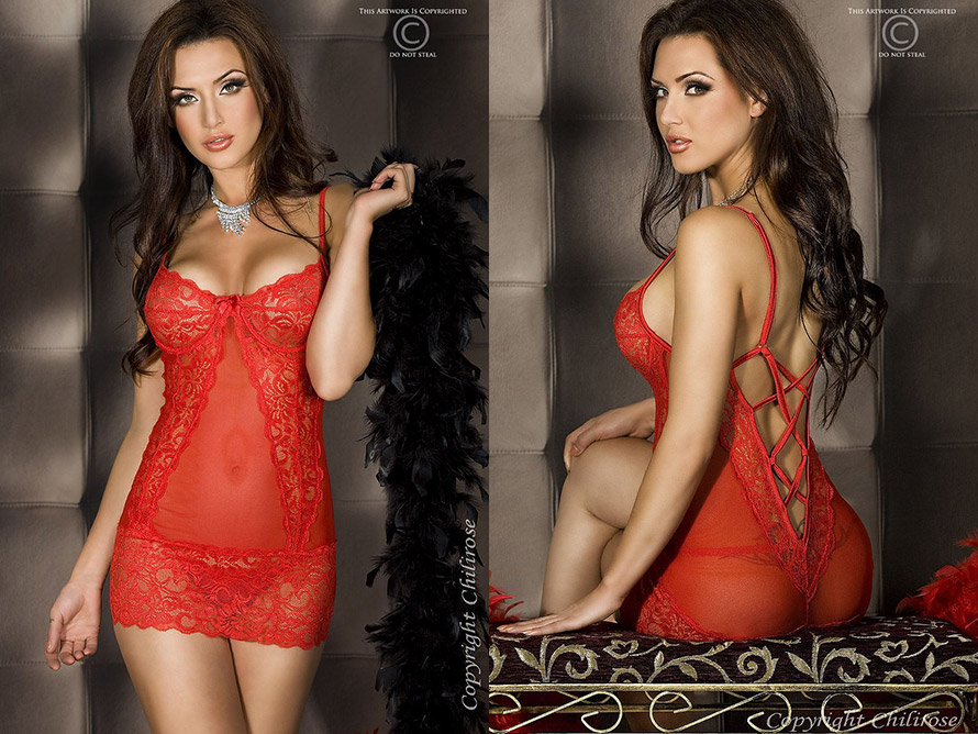 Chilirose 3020 Babydoll & Thong - Red (S/M)
