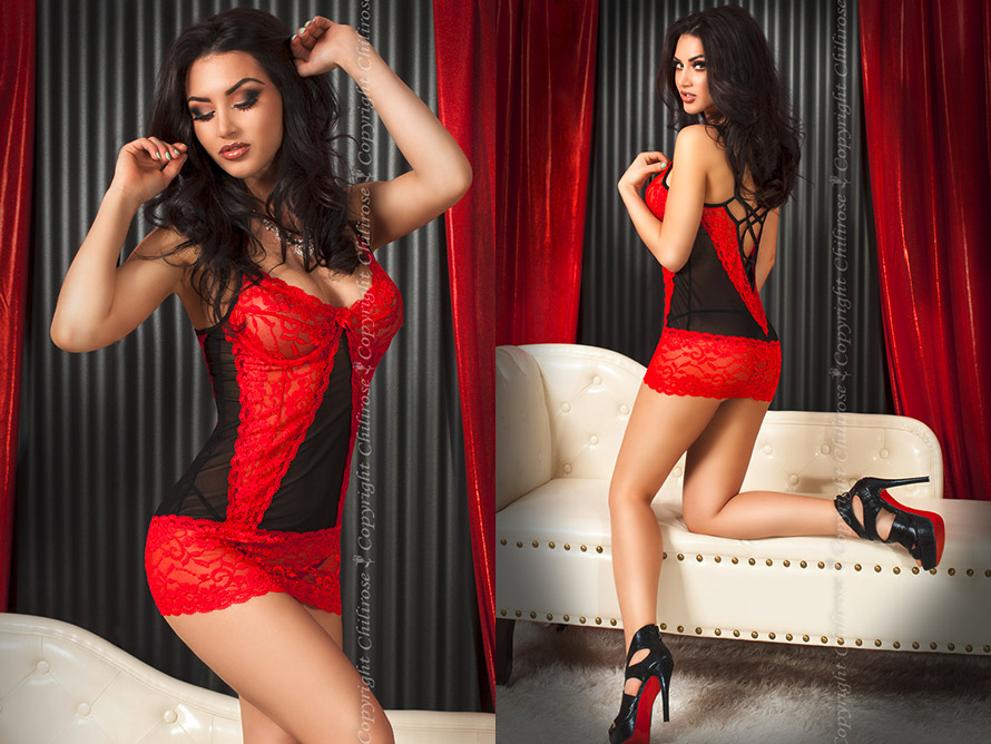Chilirose 3020 Babydoll & Thong - Red & black (L/XL)
