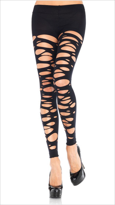 Leg Avenue Tattered Footless Pantyhose - Black (S/L)