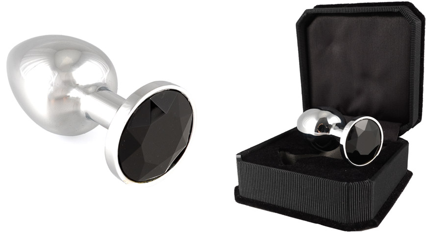Stainless Steel Butt Plug with Crystal - Black (S)