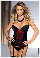 Avanua Corset & String Margot - Noir & rouge (S/M)