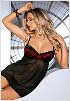 Avanua Oriana Chemise & Thong - Black & red (L/XL)