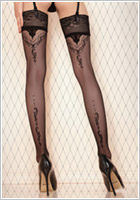 Ballerina Creative Design 423 Hold Ups - Black (S/M)
