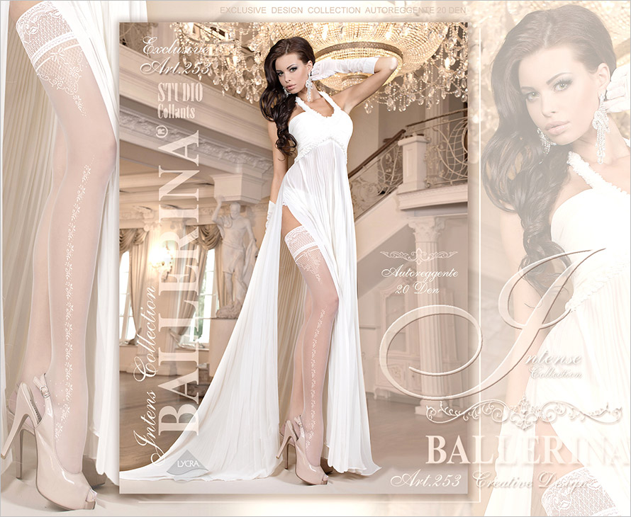 Ballerina Creative Design 253 Hold Ups - White (L/XL)