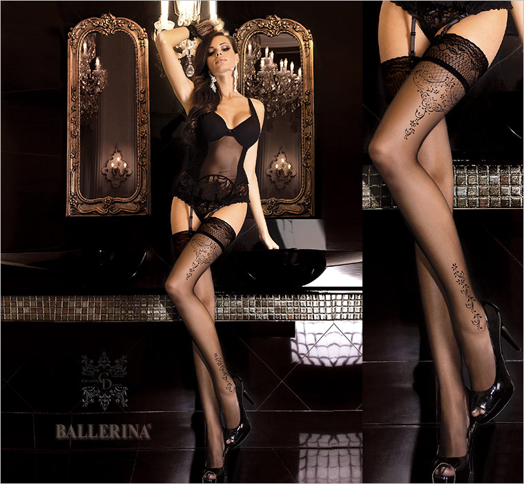 Ballerina Creative Design 262 Hold Ups - Black (L/XL)
