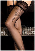 Ballerina Creative Design 262 Hold Ups - Black (S/M)
