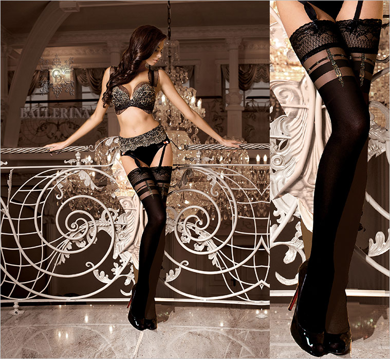 Ballerina Creative Design 263 Hold Ups - Black (L/XL)