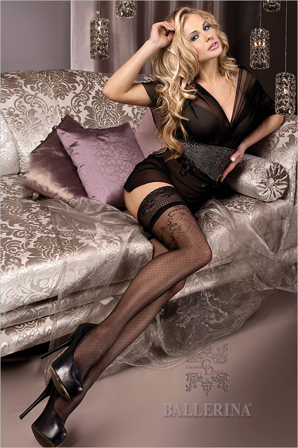 Ballerina Exclusive Design 243 Hold Ups - Black (S/M)
