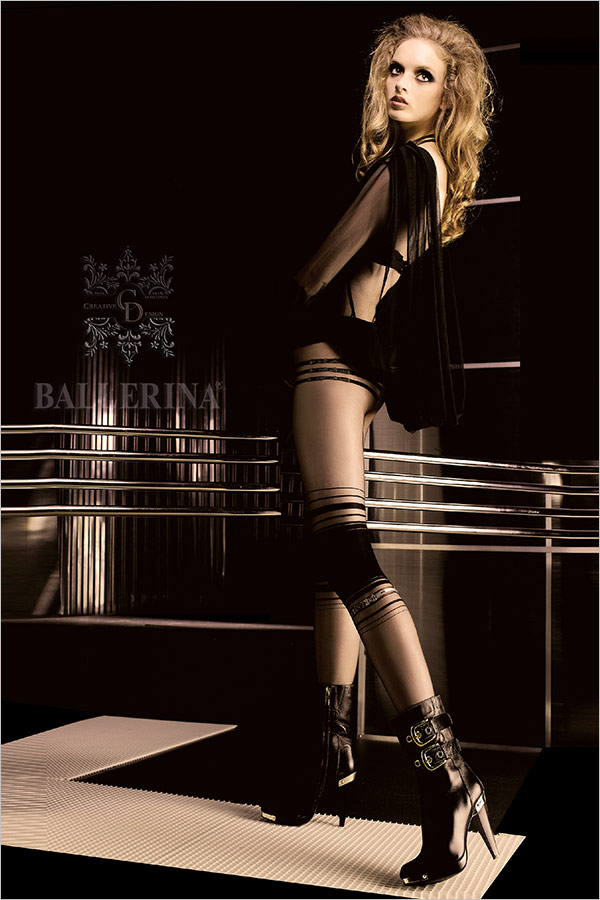Ballerina Exclusive Design 051 Embroidered Pantyhose - Black (S/M)