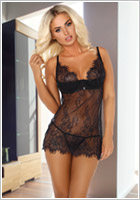 Beauty Night Arabella Chemise & Thong - Black (S/M)