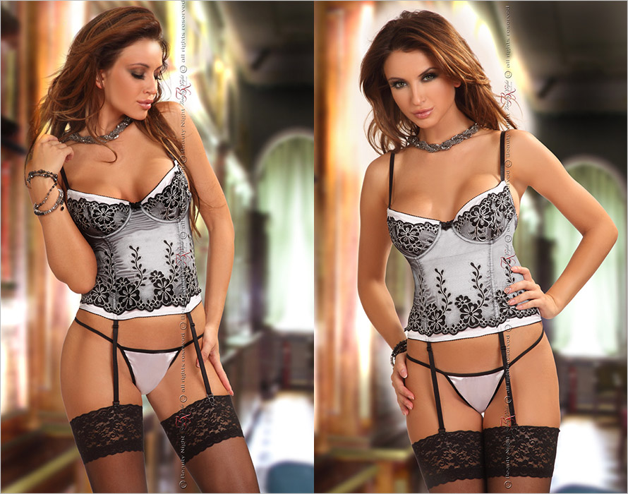 Beauty Night Corset & String Chantall - Noir & blanc (L/XL)