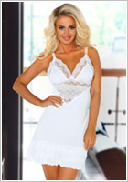 Beauty Night Petra Chemise & String - Weiss (L/XL)