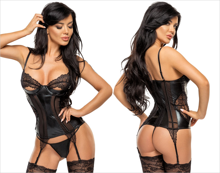 Beauty Night Corset & String Marilyn - Noir (S/M)