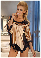Beauty Night Malvine Chemise & Panty - Gold (S/M)