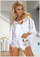 Beauty Night Nuisette & Panty Malvine - Blanc (L/XL)