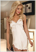 Beauty Night Nuisette & String Shannon - Blanc cassé (XXL)