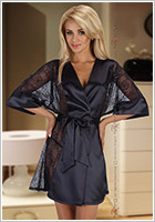 Beauty Night Stephanie Dressing Gown & Thong - Black (S/M)