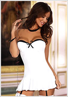 Beauty Night Mini Robe & String Eveline - Blanc (S/M)