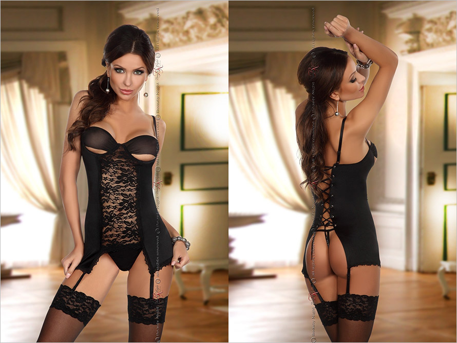 Beauty Night Adrienne Chemise & Thong - Black (L/XL)