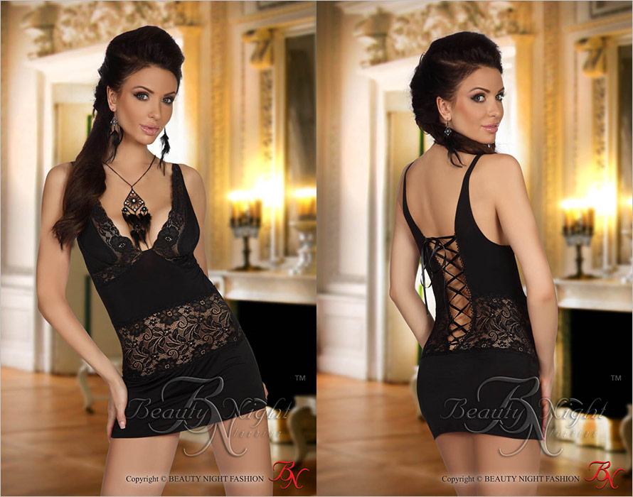 Beauty Night Mini Robe & String Carlita - Noir (S/M)