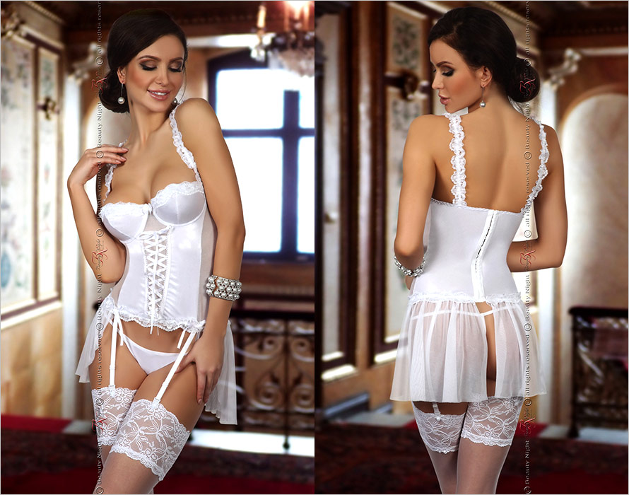 Beauty Night Dorothy Corset & Thong - White (L/XL)