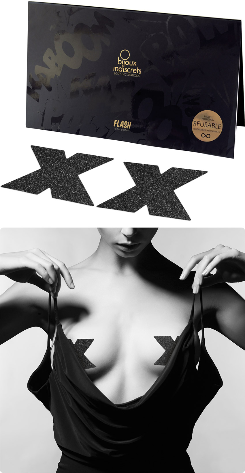 Bijoux Indiscrets Flash Glitter Pasties - Black cross