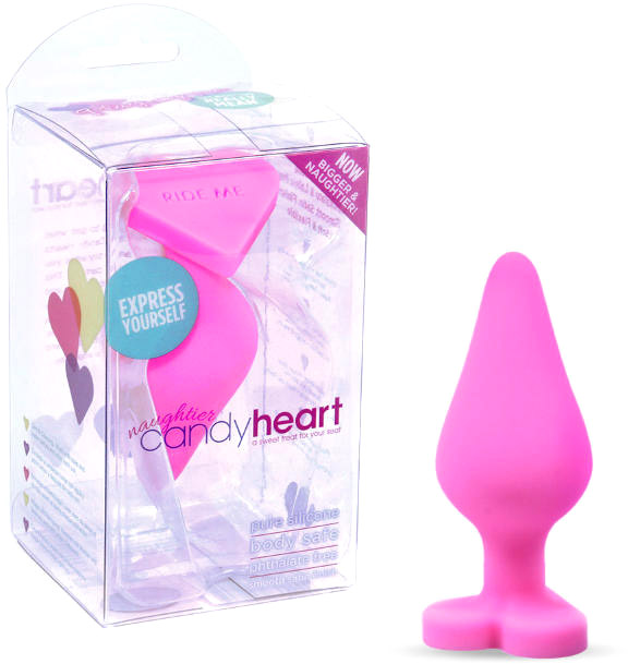 Plug anal en silicone Naughtier Candy Heart - Rose (M)