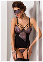Casmir Fiero Corset & Thong - Black & purple (S/M)