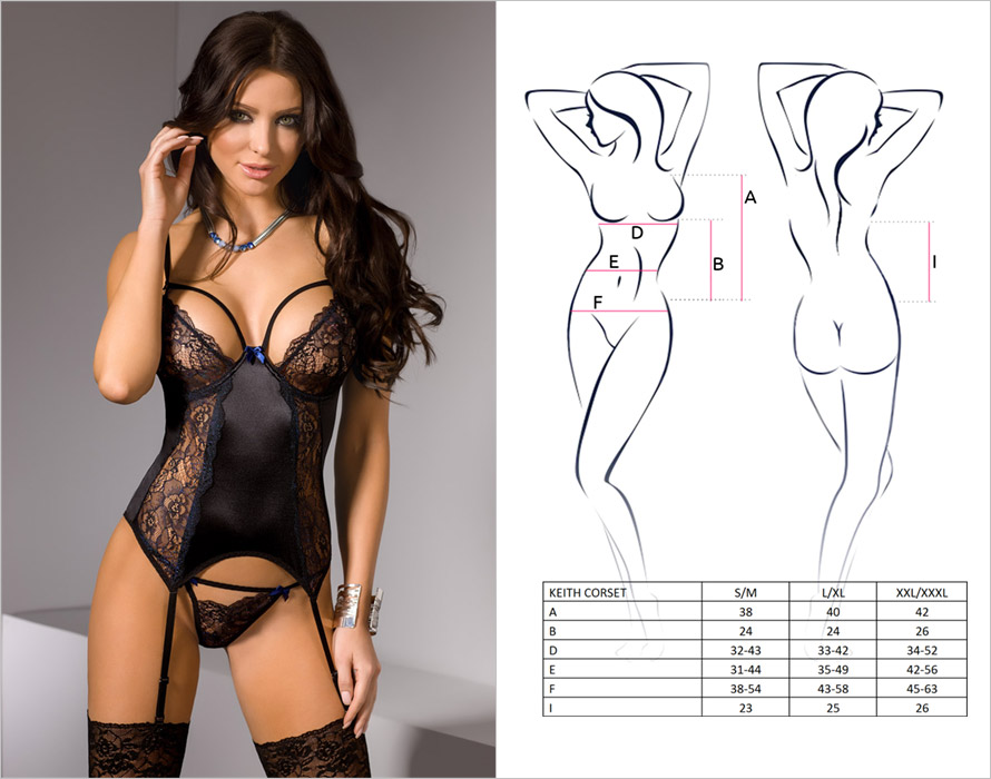 Casmir Keith Corset & Thong - Black (S/M)