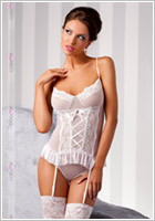 Casmir Marcelle Corset & Thong - White (S/M)