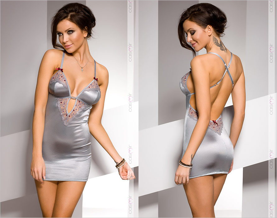 Casmir Cheli Chemise & Thong - Silver (S/M)