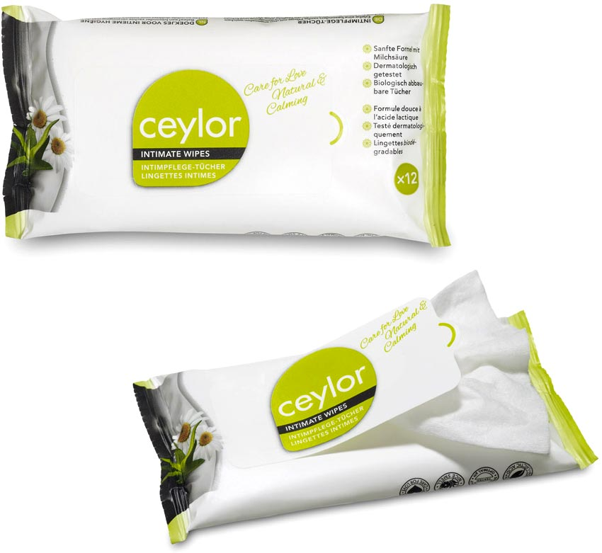 Ceylor Natural & Calming Intimate Cleaning Wipes (12 wipes)
