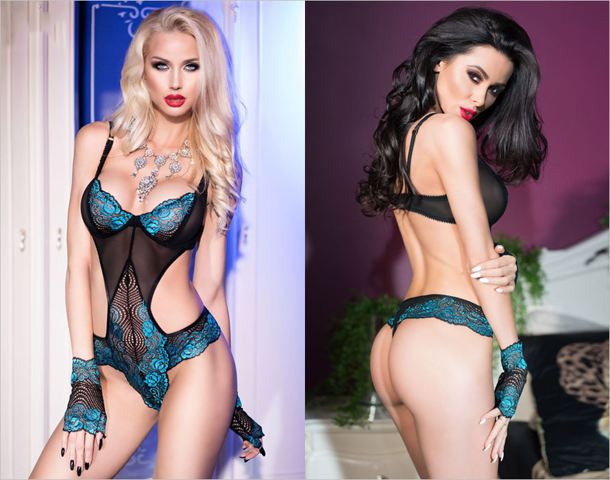 Chilirose 4212 string body with gloves - Blue & turquoise (S)