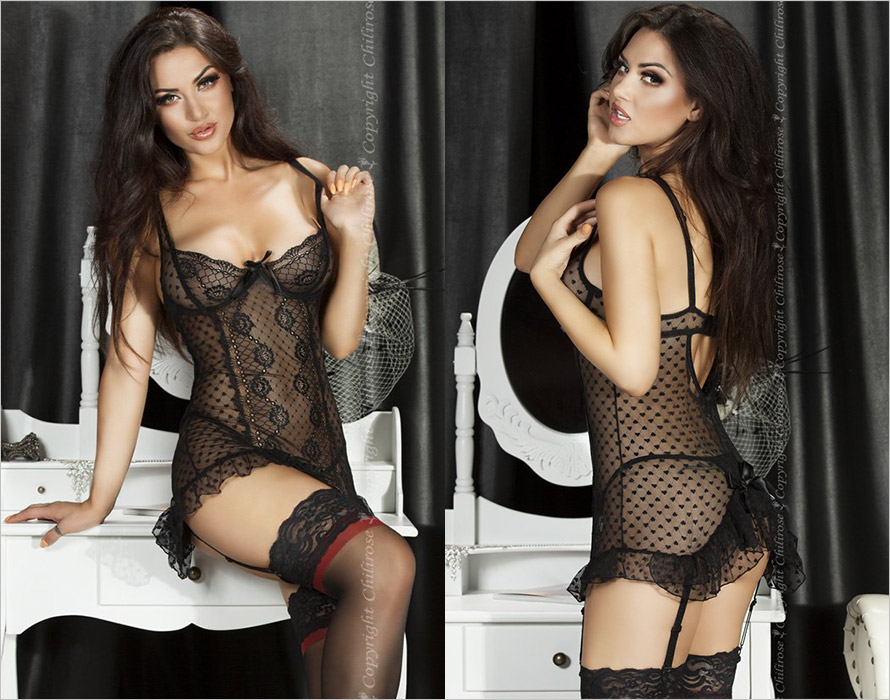 Chilirose 3505 Chemise & Thong - Black (S)