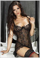 Chilirose 3505 Chemise & Thong - Black (M)