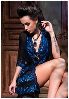 Chilirose 3837 Dressing Gown - Black and blue (S/M)