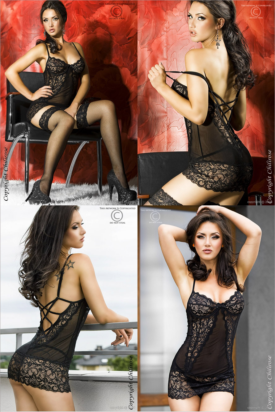 Chilirose 3020 Babydoll & Thong - Black (L/XL)