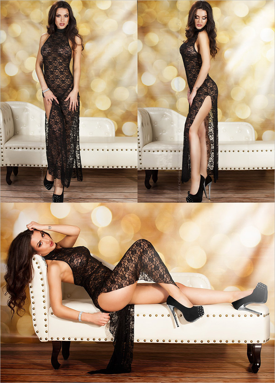 Chilirose 3506 Gown & Thong - Black (S/M)