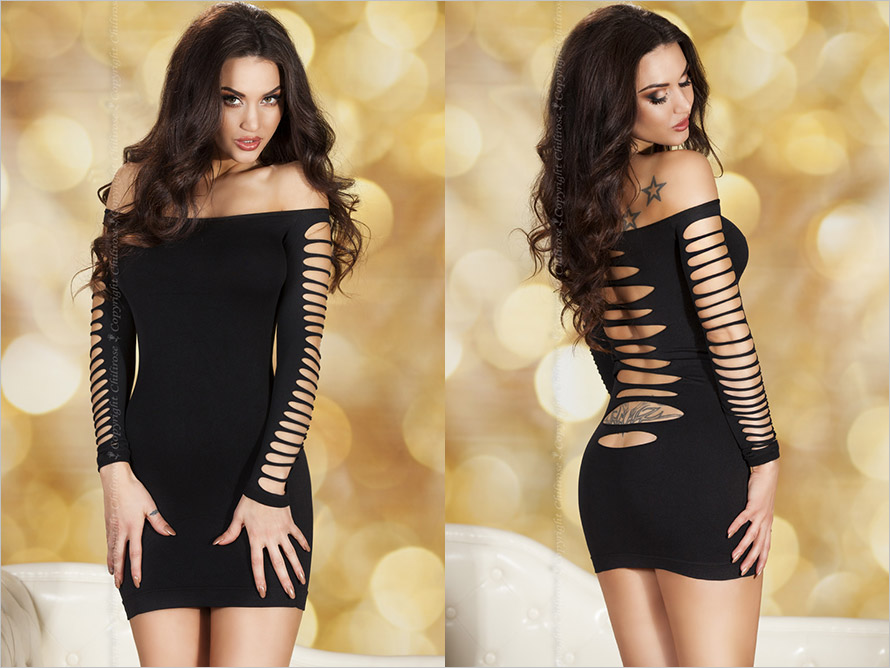 Chilirose 3608 Mini Dress - Black (S/M)