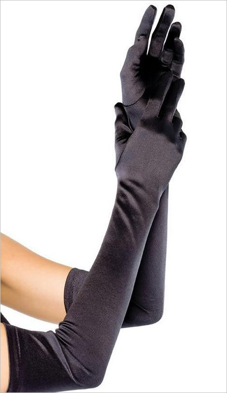 Cottelli Collection Satin Gloves - Black (S/L)
