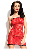 Demoniq Antonie Chemise & Thong - Red (XL)
