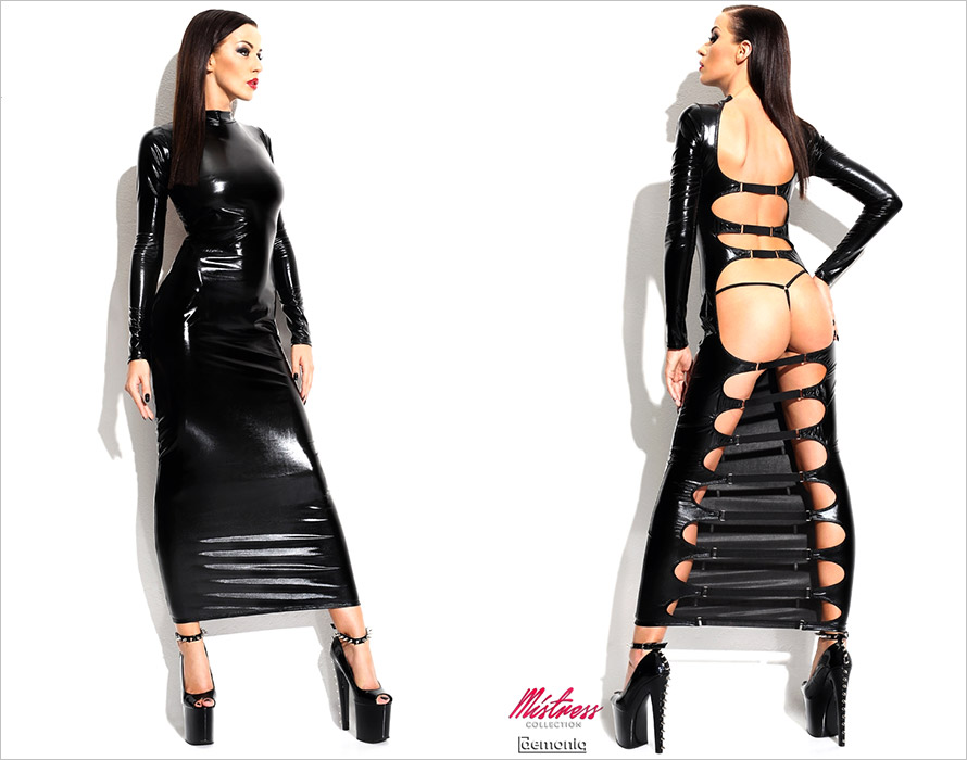 Demoniq Dorothea Ankle-length dress & Thong - Black (L/XL)