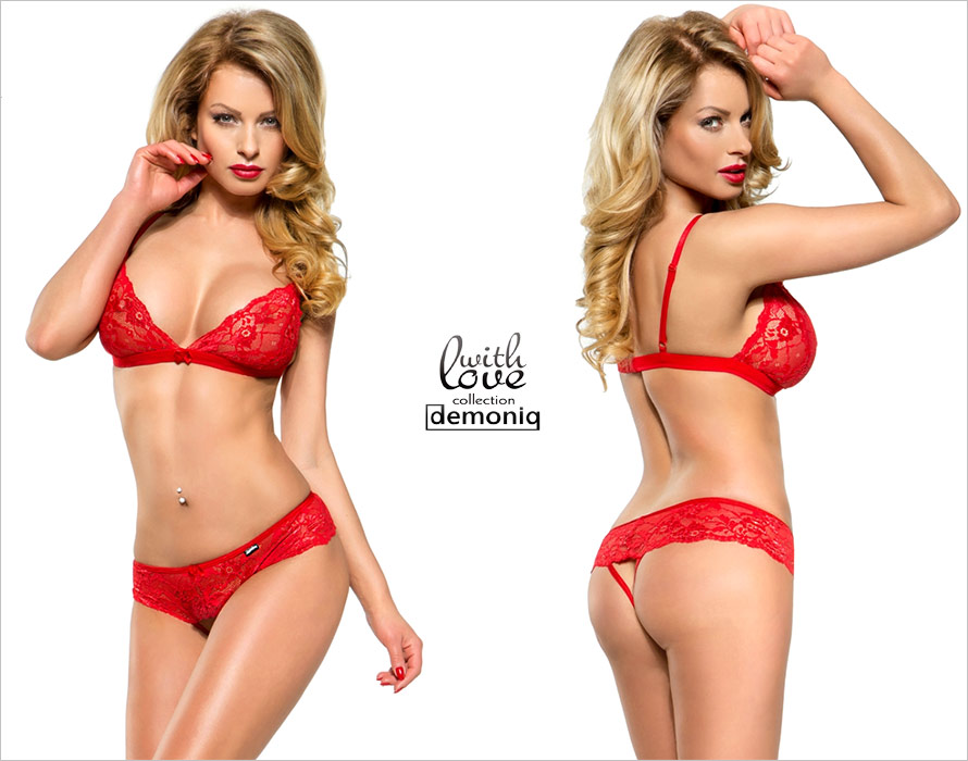Demoniq Stella Bra & Open Panties Set - Red (L)