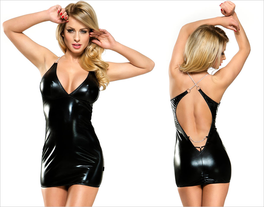 Demoniq Veronique 3 Wetlook Mini Dress - Black (L/XL)