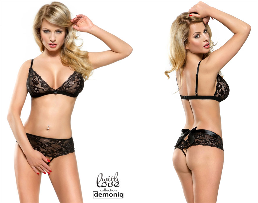 Demoniq Karen Bra & Open Panties Set - Black (L)
