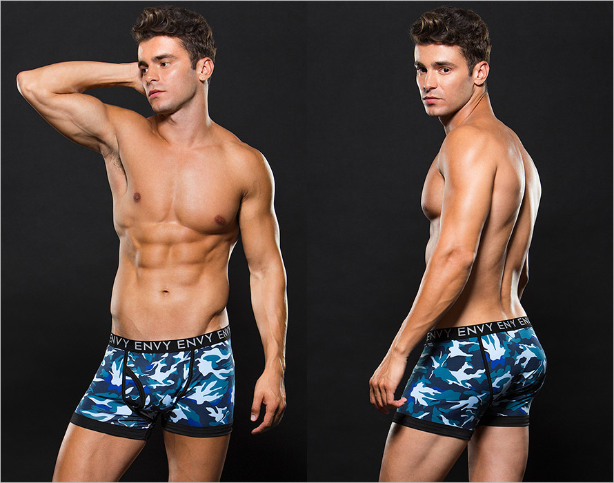 Envy Men's Camouflage Boxers - Blue (L/XL)