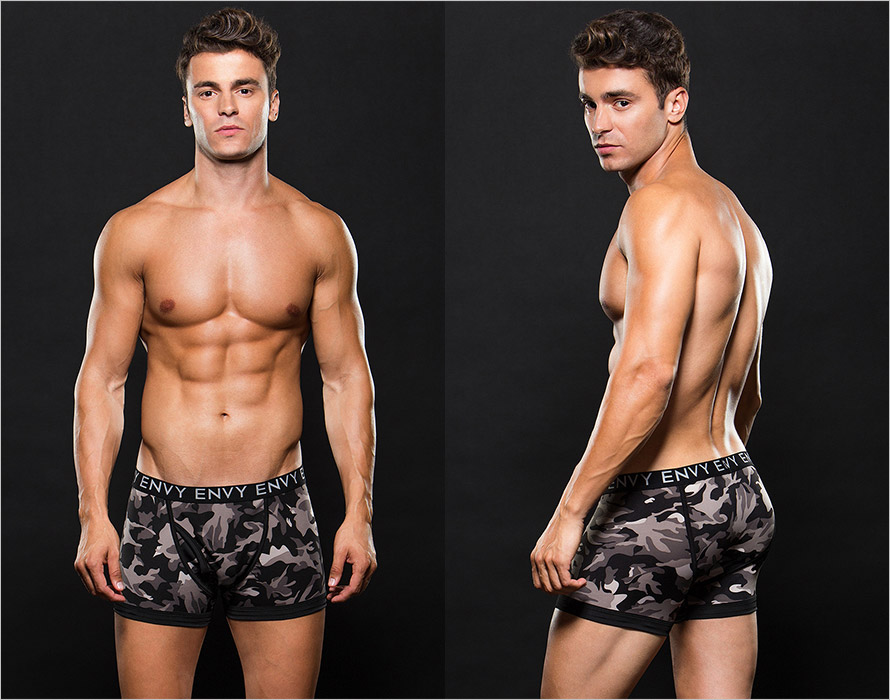 Envy Men's Camouflage Boxers - Grey (L/XL)