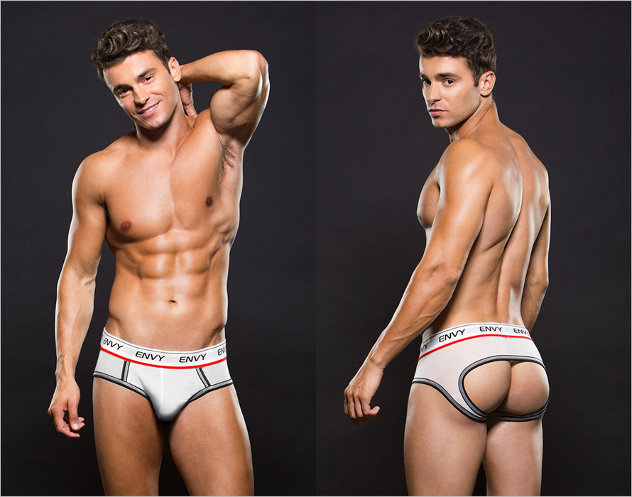 Envy Low Rise Brief open boxers for men - White (L/XL)