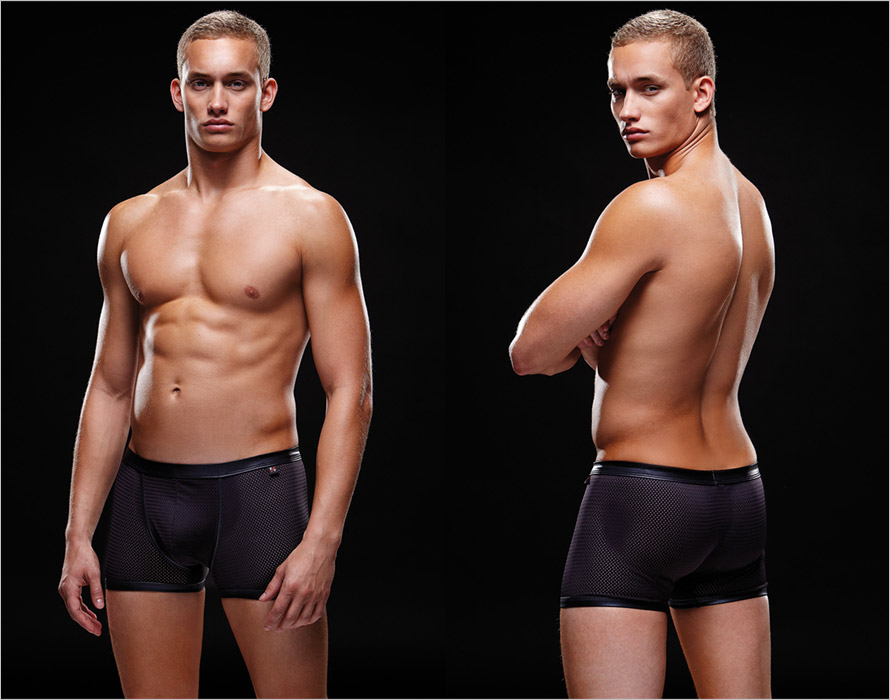 Envy Men's Wetlook Sport Mesh Boxers - Black (L/XL)